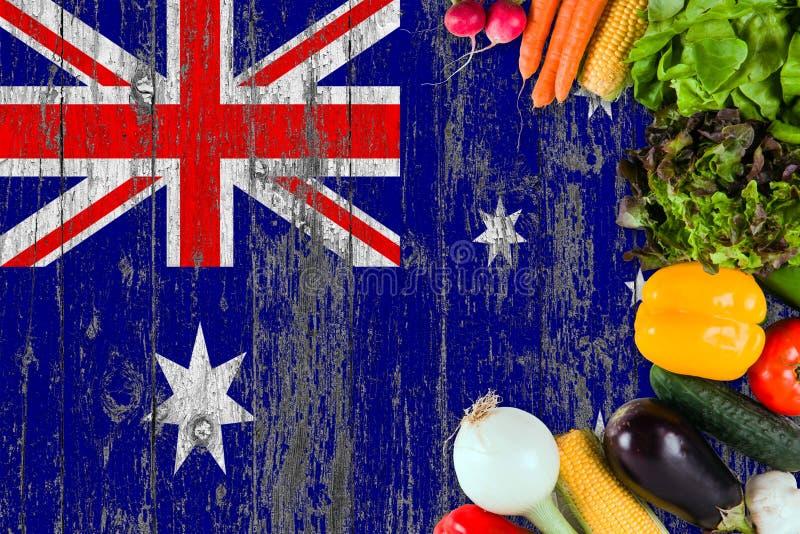 Legumes frescos de Austr?lia na tabela Cozinhando o conceito no fundo de madeira da bandeira fotografia de stock
