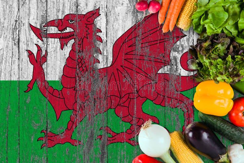 Legumes frescos de Gales na tabela Cozinhando o conceito no fundo de madeira da bandeira fotografia de stock