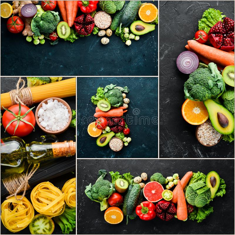 Legumes frescos e frutos da colagem da foto imagem de stock royalty free