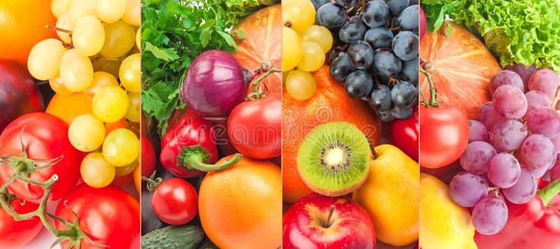 Legumes frescos e frutos da coleção panorâmico foto de stock royalty free