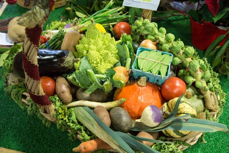Legumes frescos na cesta do mercado da exploração agrícola fotos de stock