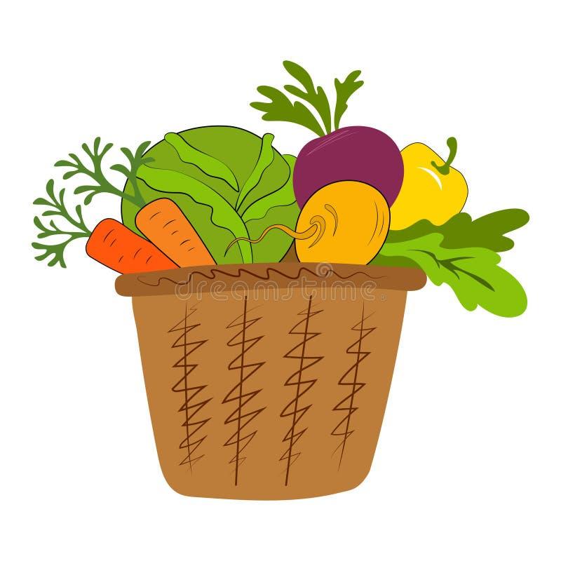 Legumes frescos na cesta isolada no branco ilustração do vetor