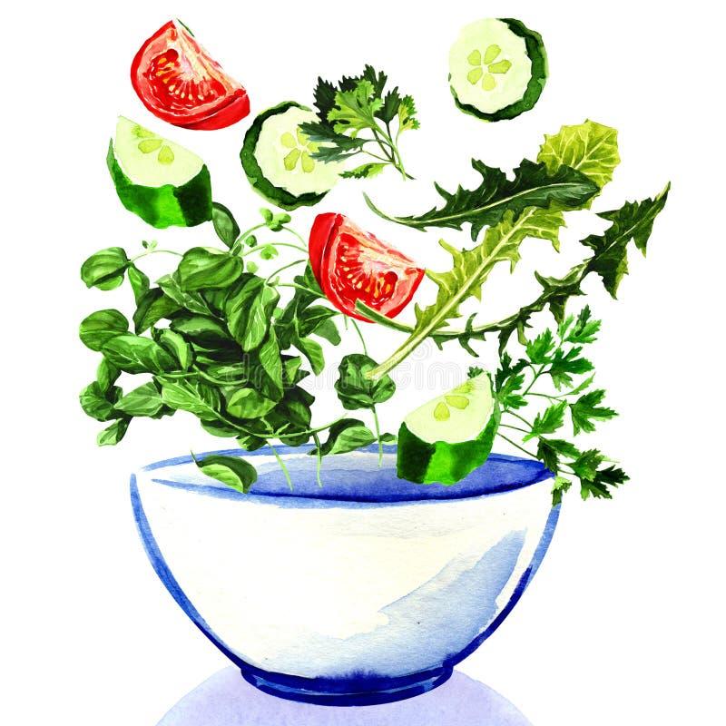 Legumes frescos que caem na bacia de salada ilustração royalty free
