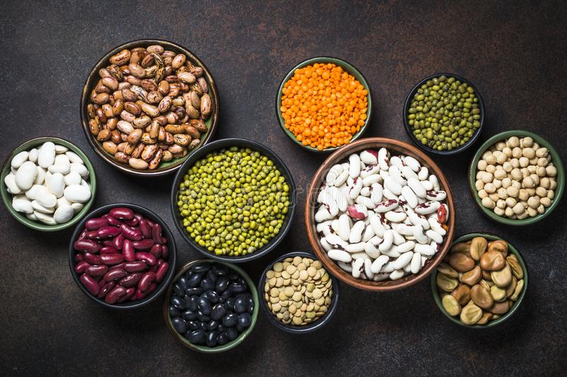 Legumes, lentils, chikpea and beans assortment. royalty free stock photography