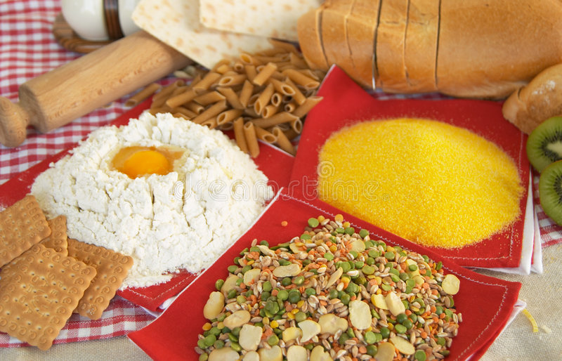 Legumes, pasta, egg, flour, biscuits, corn polenta stock image