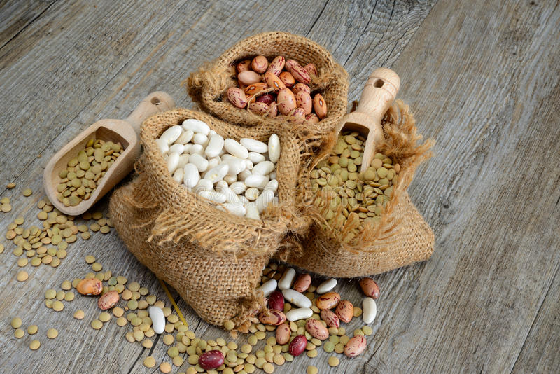 Legumes. Various legumes which lentils,red bean white bean royalty free stock photo