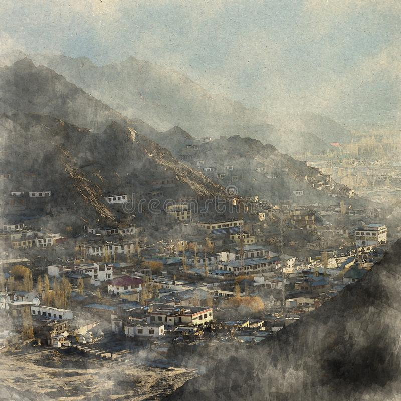 Leh city, India. Digital Art watercolor on vintage paper created. By Photographer royalty free stock image