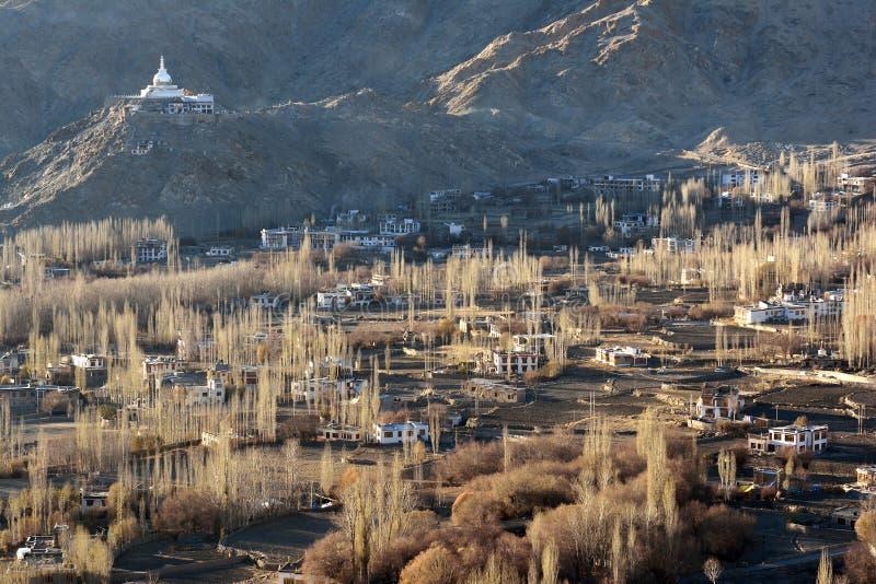 Leh city and Shanti Stupa, Leh, Ladakh stock photos