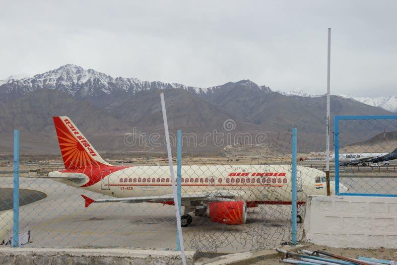 Leh, India - April 11, 2016 : Air India at Kushok Bakula Rimpochhe Airport on April 11, 2016. In Ladakh stock photography