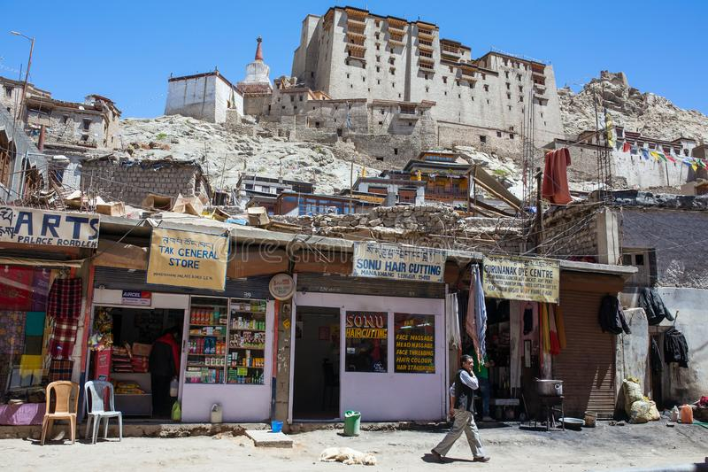 Old city center near the Leh palace in Ladakh, Jammu and Kashmir, India stock photo