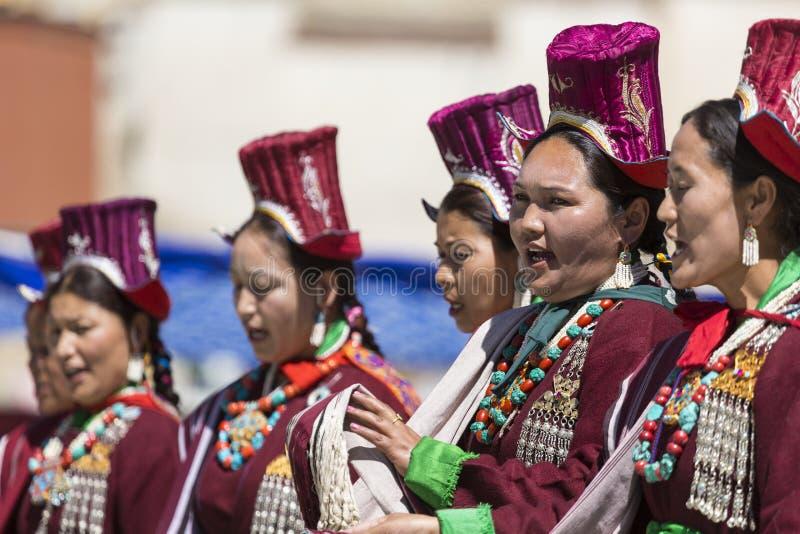 LEH, INDIA - SEPTEMBER 20, 2017: Unidentified artists in Ladakhi costumes at the Ladakh Festival on September royalty free stock photo