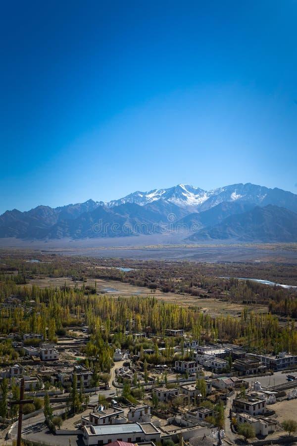 Leh ladakh City from Top, Leh City Aerial View, Leh, Ladakh, Beautiful Landscape, Holiday in Ladakh, royalty free stock photo
