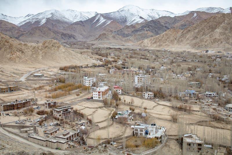 Leh Ladakh city view from Shanti Stupa stock photo
