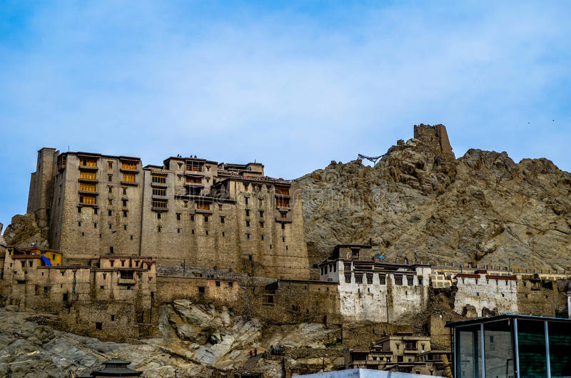 Leh palace. In leh city in the backdrop of mighty Himalayas & blue sky stock image