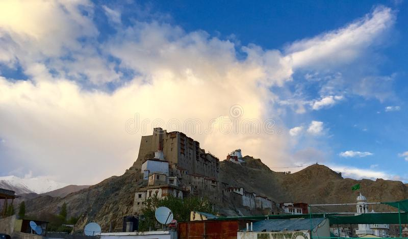 Leh Palace. Is a former royal palace overlooking the Ladakhi Himalayan town of Leh. Modelled on the Potala Palace in Lhasa, Tibet, the palace was built by King stock images