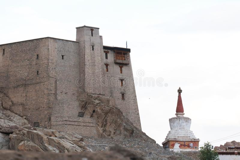 Leh palace in the twon royalty free stock images
