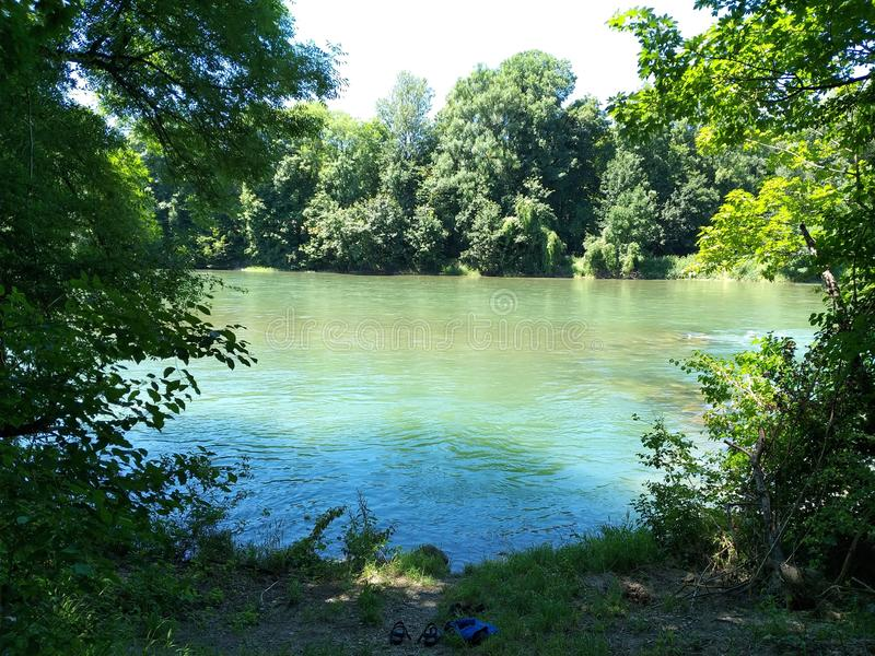 Leh river in Augsburg Germany.  summer royalty free stock image