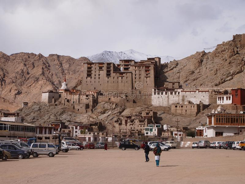 View of Leh city, capital of the Ladakh region and former Himalayan kingdom royalty free stock photo