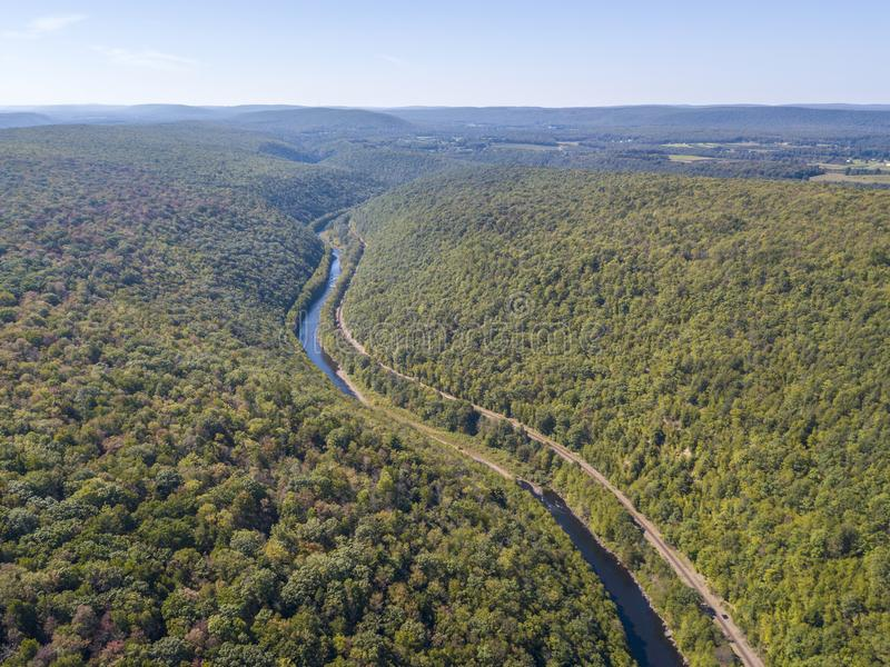 Aerial view of the river. Lehigh Gorge state park aerial view stock photos