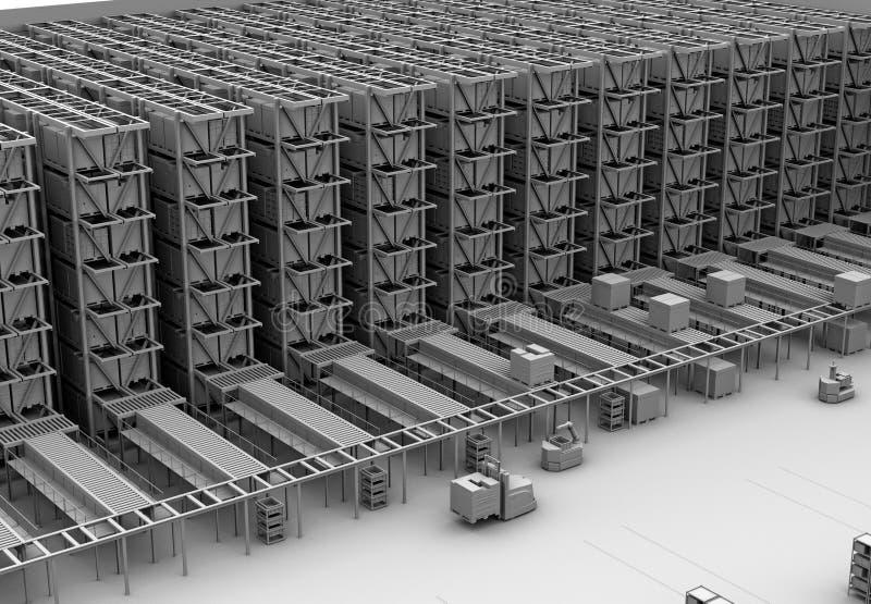 Lehm-Wiedergabe der modernen automatisierten Logistik zentrieren ` s Innenraum vektor abbildung