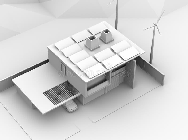 Lehm-Wiedergabe des Elektro-Mobils neuladend in der Garage Das intelligente Haus angetrieben durch Sonnenkollektoren und Windkraf stock abbildung