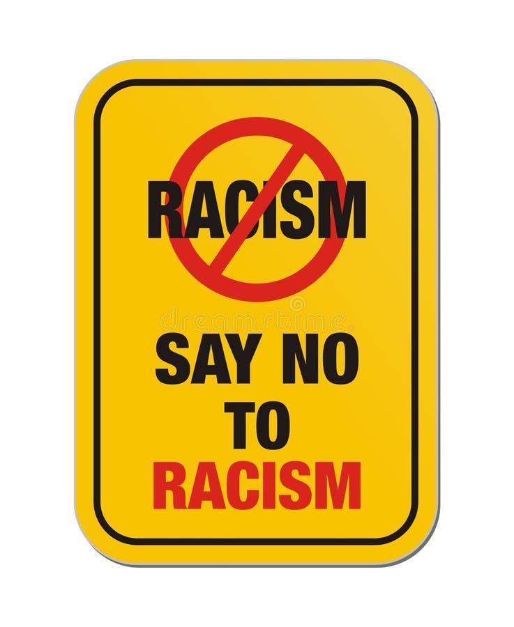 Lehnen Sie gelbes Zeichen des Rassismus ab stock abbildung