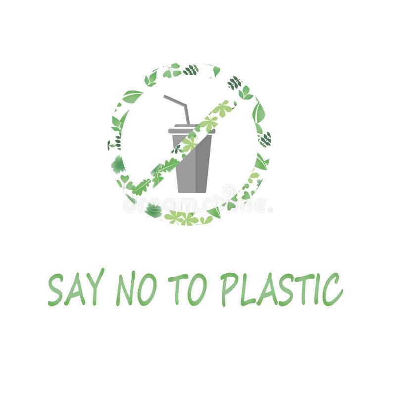 Lehnen Sie Plastikrotes GlasVerbotszeichen ab lehnen Sie Plastikschalenverschmutzung ab sparen Sie Umwelt und Ökologie von Erde G lizenzfreie abbildung