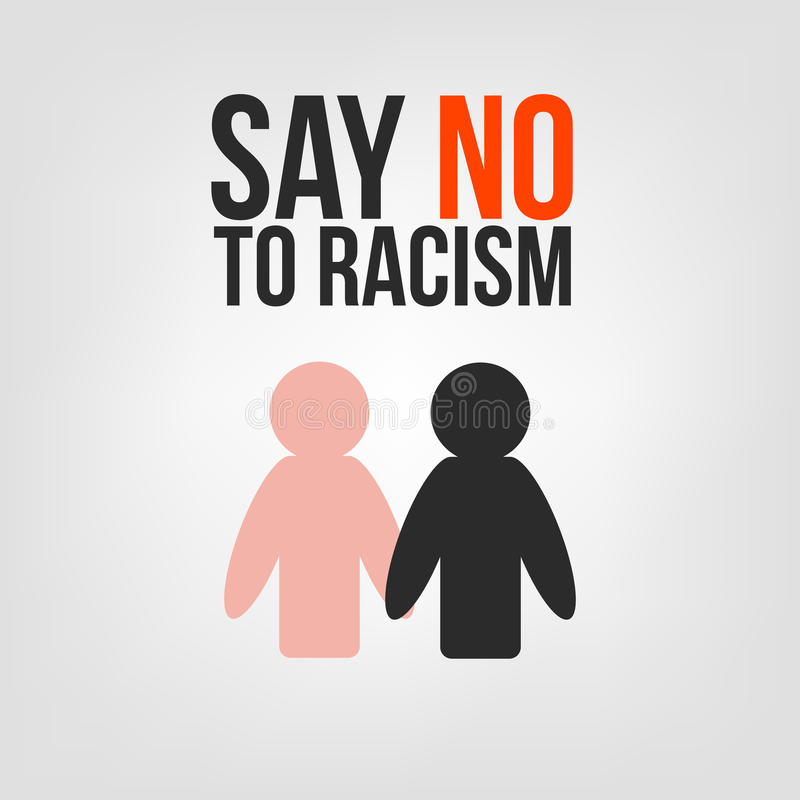 Lehnen Sie Rassismus ab Schwarzweiss-Leute sind Händchenhalten Schwarzer Mann, der Hand des weißen Mannes rüttelt lizenzfreie abbildung