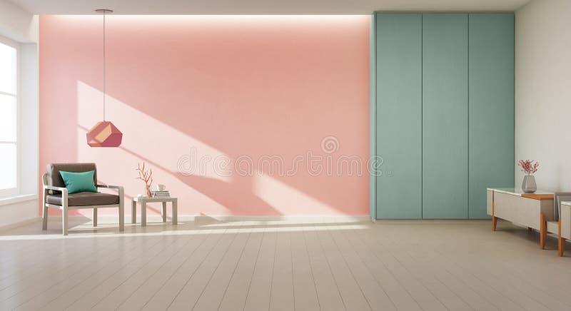 Lehnsessel auf Bretterboden mit Fenster und korallenrotem Betonmauerhintergrund im großen Wohnzimmer am modernen neuen Haus lizenzfreie stockfotos