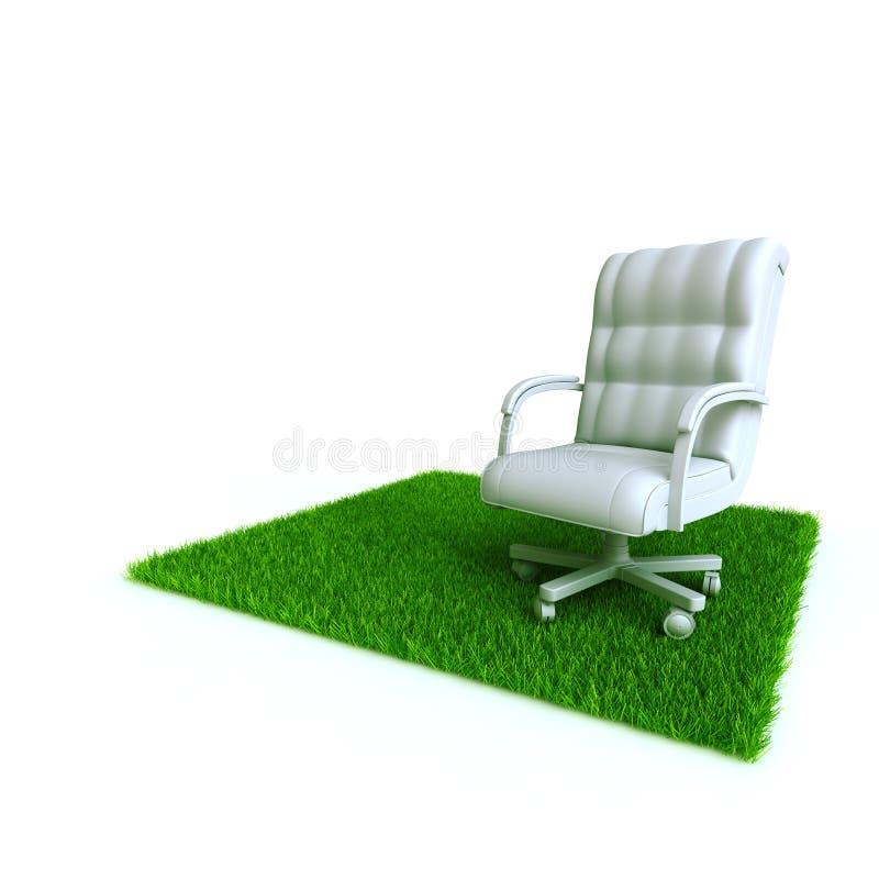 Lehnsessel auf einem Rasen stock abbildung