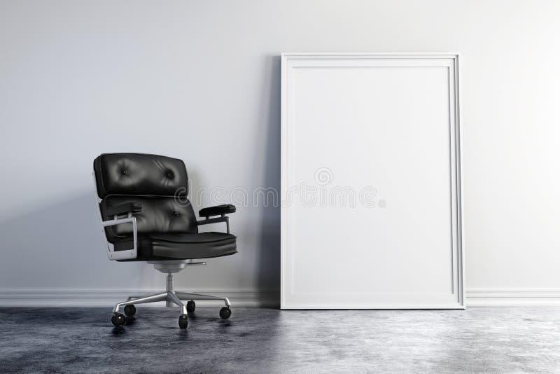 Lehnsessel 3d und leerer weißer Rahmen lizenzfreie abbildung