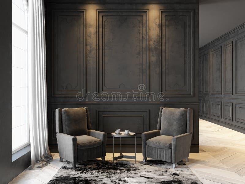 Lehnsessel und Couchtisch im klassischen schwarzen Innenraum Innenraumspott oben stock abbildung