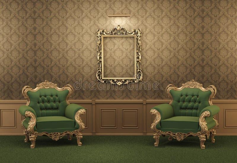 Lehnsessel und leeren goldenen Rahmen auf einer Wand stock abbildung