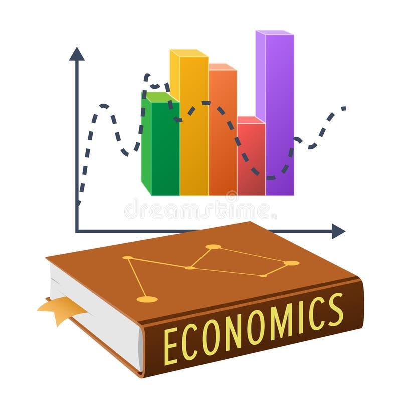Lehrbuch auf Wirtschaft und hellem statistischem Diagramm lizenzfreie abbildung