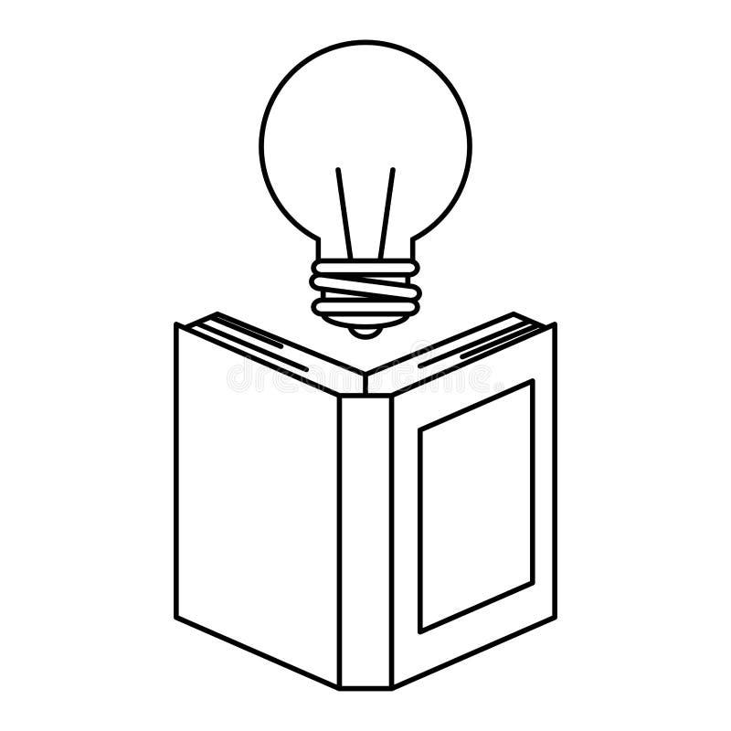 Lehrbuch mit Birne stock abbildung