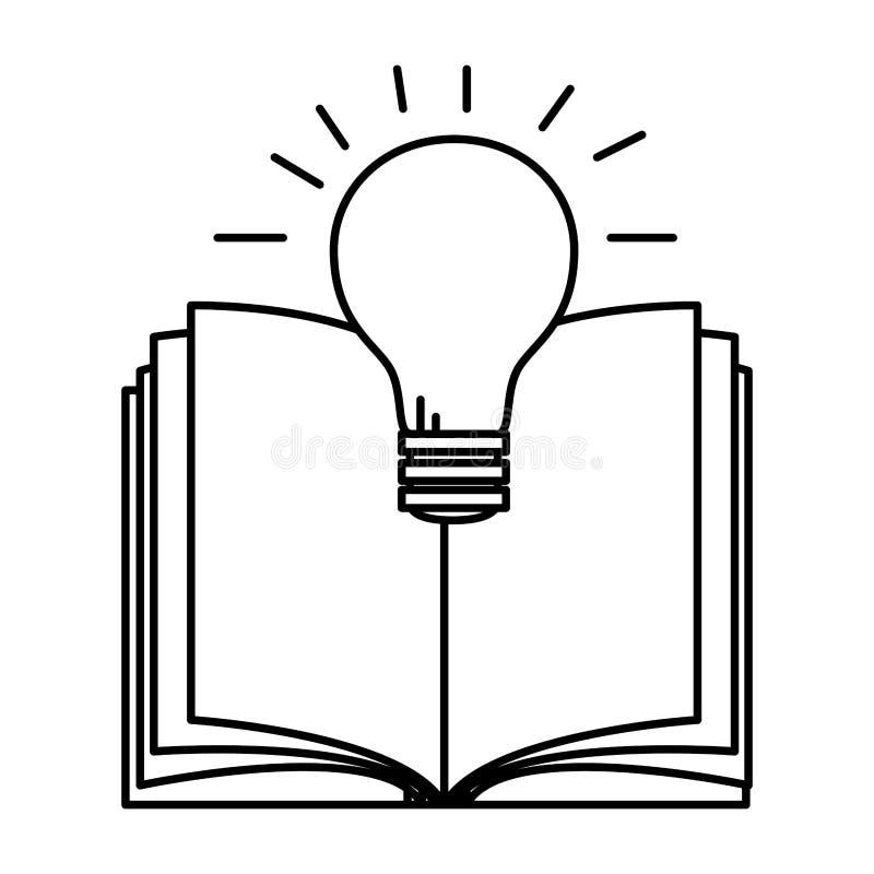 Lehrbuch mit Birne lizenzfreie abbildung