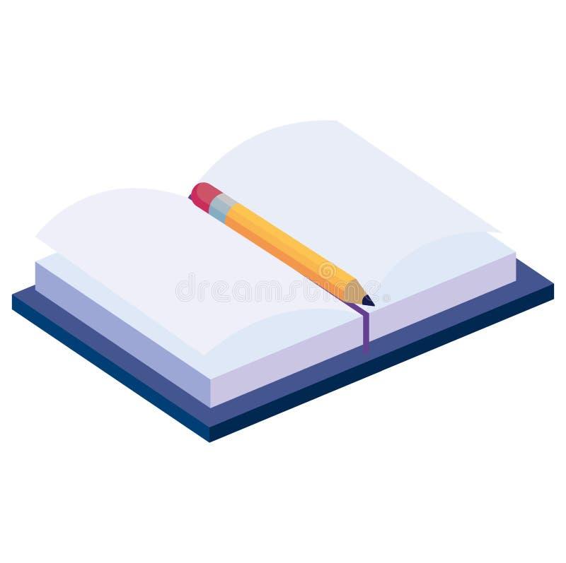 Lehrbuch mit Bleistift vektor abbildung