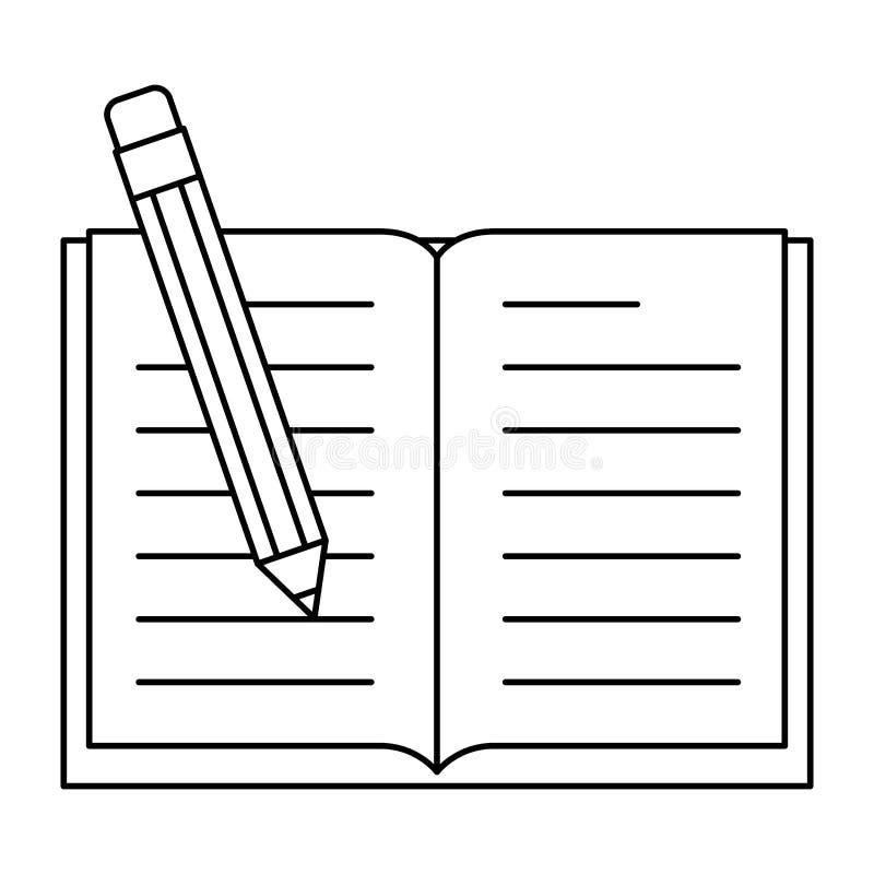 Lehrbuch mit Bleistift stock abbildung