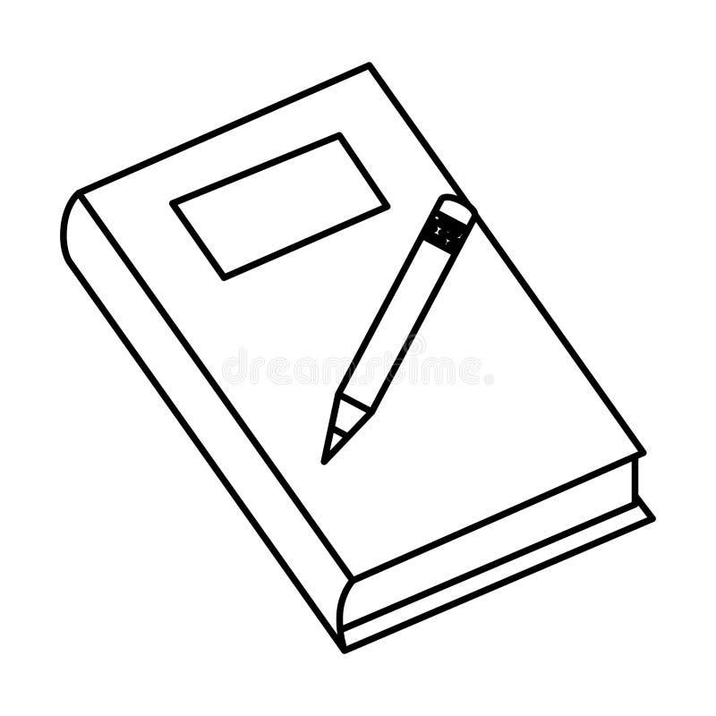 Lehrbuch mit Bleistift lizenzfreie abbildung