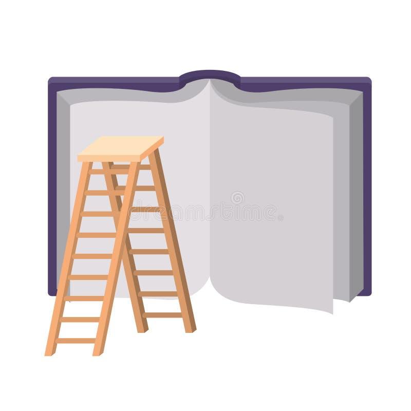 Lehrbuch mit hölzerner Treppe lizenzfreie abbildung