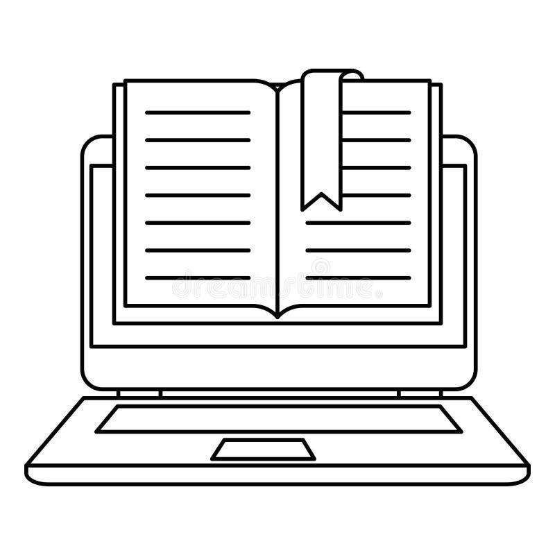 Lehrbuch mit Laptop stock abbildung