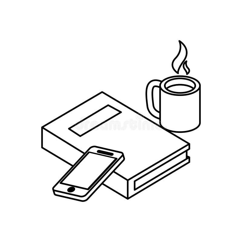 Lehrbuch mit smarphone vektor abbildung