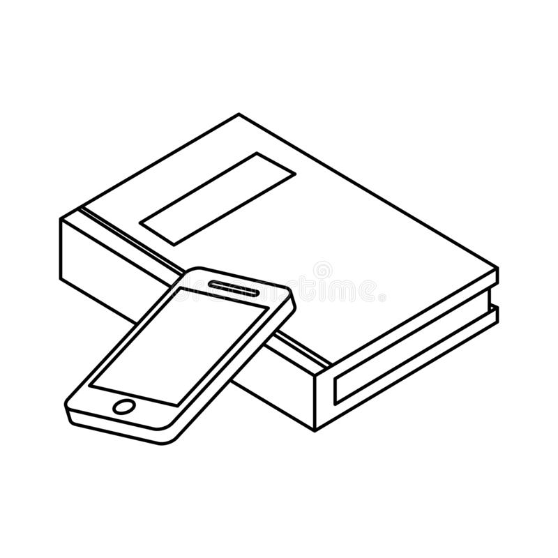 Lehrbuch mit smarphone stock abbildung