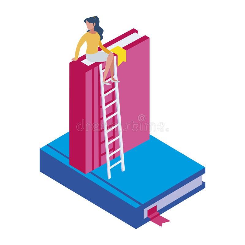 Lehrbuch mit Treppe stock abbildung