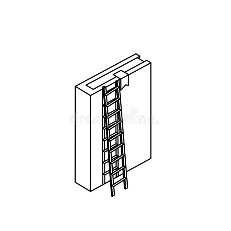 Lehrbuch mit Treppe lizenzfreie abbildung