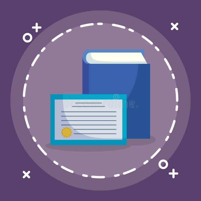 Lehrbuch und Diplom lizenzfreie abbildung