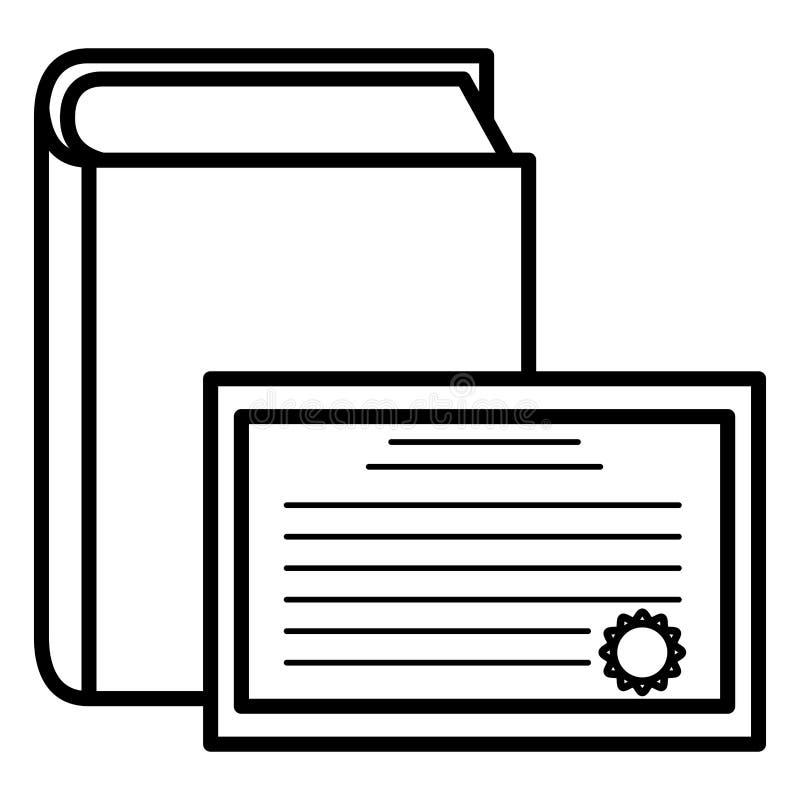 Lehrbuch und Diplom stock abbildung