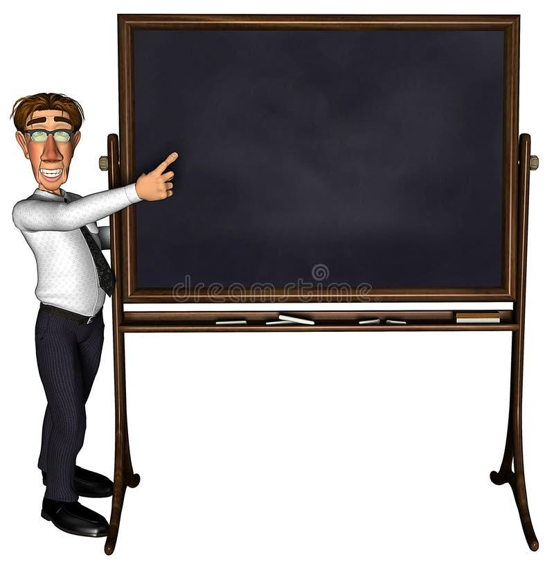 Lehrer 3d, der das Leerzeichen mit 5 Karikaturen unterrichtet vektor abbildung