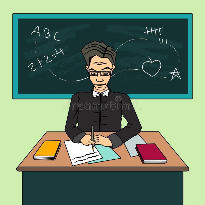 Lehrer Cartoon Character, sitzend am Schreibtisch im Klassenzimmer lizenzfreie stockfotos