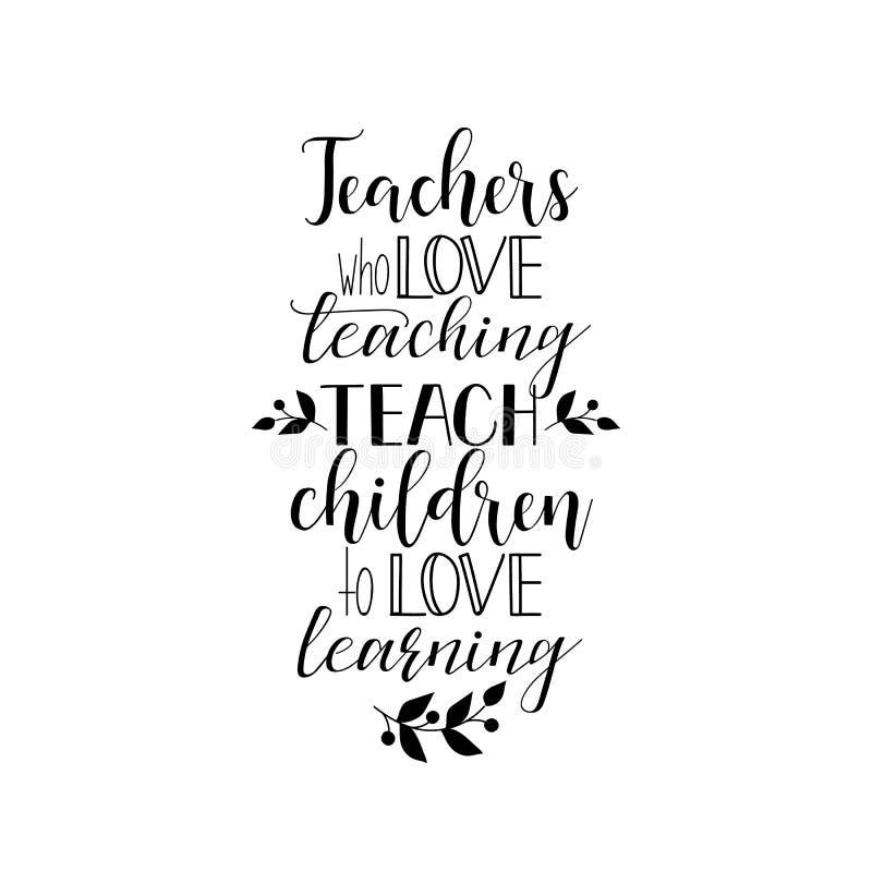 Lehrer, die unterrichten mögen, unterrichten Kinder lernen zu mögen Vektorabbildung auf weißem Hintergrund Lehrer ` s Tag Moderne stockfotografie